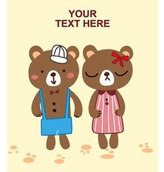 Cute bear couple vector