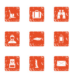 Delivery of jewellery icons set grunge style vector