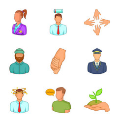 Description of staff icons set cartoon style vector