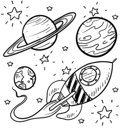 doodle space planets rocket ship stars explore vector image