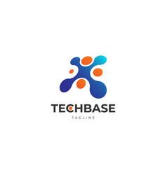 Dot networked technology logo design template vector