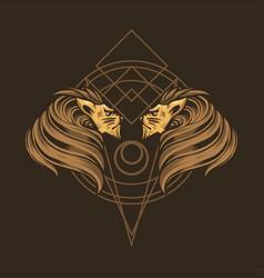 double lion head vector image