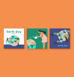 earth day greeting card set nature teamwork help vector image