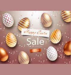 easter sale banner design with square frame rose vector image