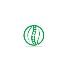 eco green leaf organic round logo vector image