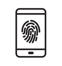 fingerprint security on smartphone vector image