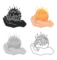 Fire spell icon in cartoon style isolated on white vector