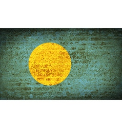 Flags Palau with dirty paper texture vector image