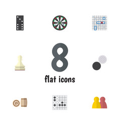 flat icon games set of chequer arrow gomoku and vector image