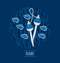 floats with fish and seaweed vector image