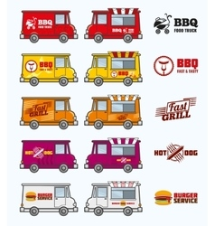 Food trucks set vector
