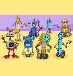 funny robots cartoon fantasy characters group vector image