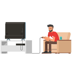 Gamer character man play video game vector