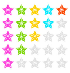 Geometric contour faceted star icons - quality vector