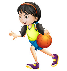 Girl playing basketball white background vector