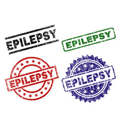 Grunge textured epilepsy seal stamps vector