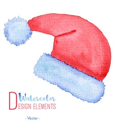 Hand painted Santa Claus red hat vector image
