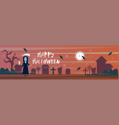 happy halloween greeting card death with scythe on vector image