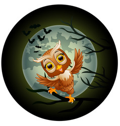 happy owl cartoon standing on the branch vector image