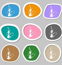 Hookah symbols Multicolored paper stickers vector image