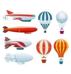 Hot air balloon isolated set vector