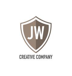 Initial letter jw shield design loco concept vector