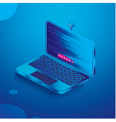 Isometric laptop in blue colors notebook with web vector