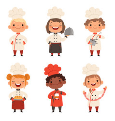 Kids characters prepare food vector