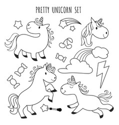 Kids coloring page unicorn set for coloring book vector