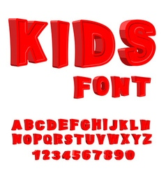 Kids font 3d letters alphabet for children red vector