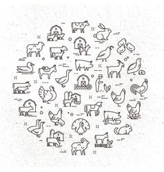 Large circular icon set rural animals in vector