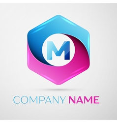 Letter M logo symbol in the colorful hexagonal on vector image