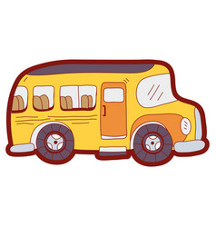line color vehicle school bus education vector image