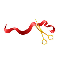Long silk red ribbon and gold shiny scissors vector
