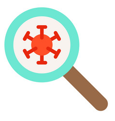 Magnify glass with virus flat style icon vector