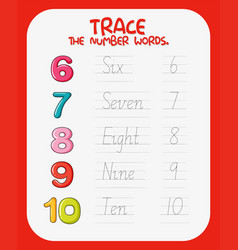 Math number tracing worksheets vector