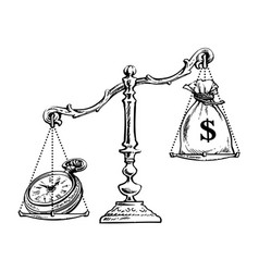 money and pocket watch on the scale time is money vector image
