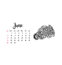 Monthly desk calendar template for month june vector