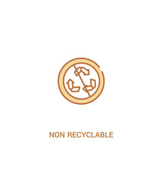 Non recyclable concept 2 colored icon simple line vector