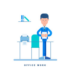 office worker standing at the table business vector image
