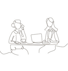 Office workers - one line design style vector