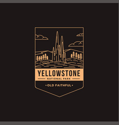 old faithful yellowstone national park patch vector image