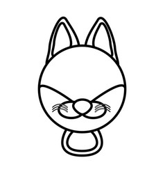 outline fox head animal vector image