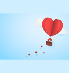paper style love of valentine day heart balloon vector image