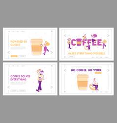 People drink coffee website landing page set vector