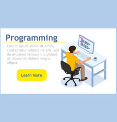 programming concept isometric images programmer vector image