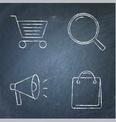 Promotion and purchase icons set on chalkboard vector