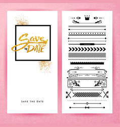 rectangular save date stationery image vector image