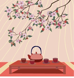 Sakura Tea ceremony Menu Coffee vector