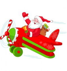 Santa flying his christmas plane vector